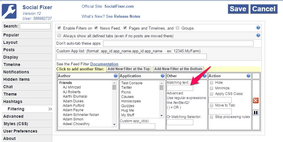 social fixer filtering